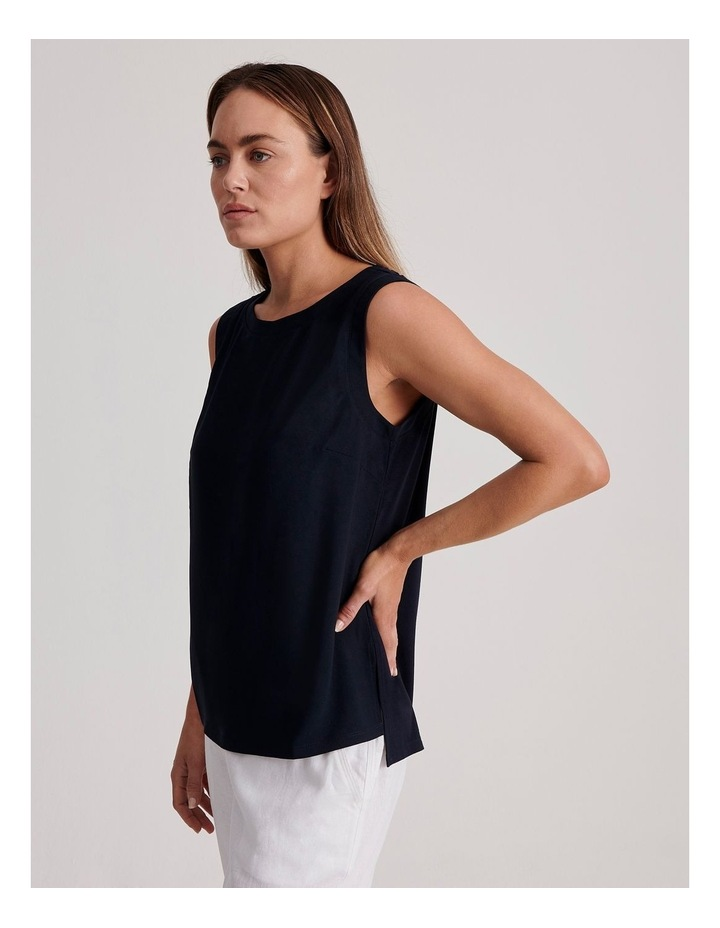Sleeveless Woven Front with Knit Back Tank image 3