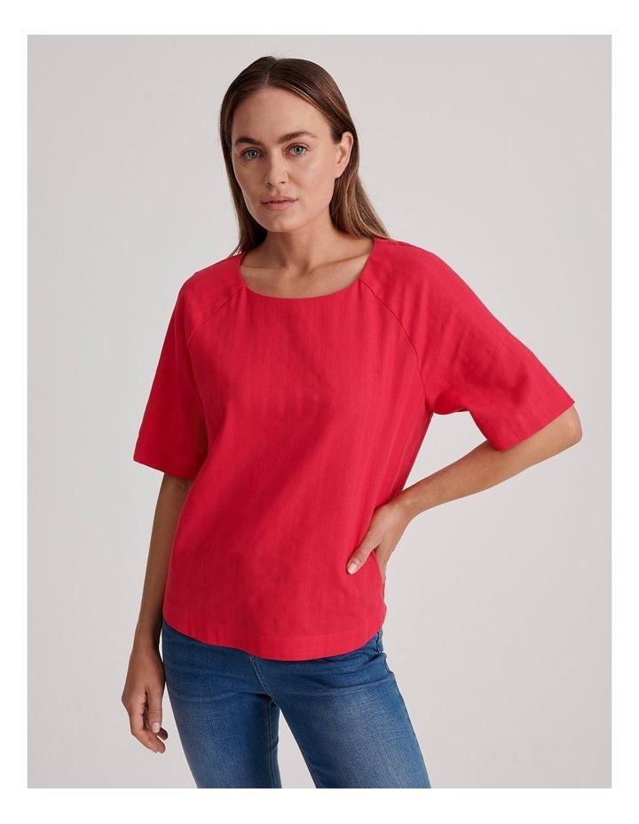 Short Raglan Sleeve Textured Cotton And Linen Top image 1