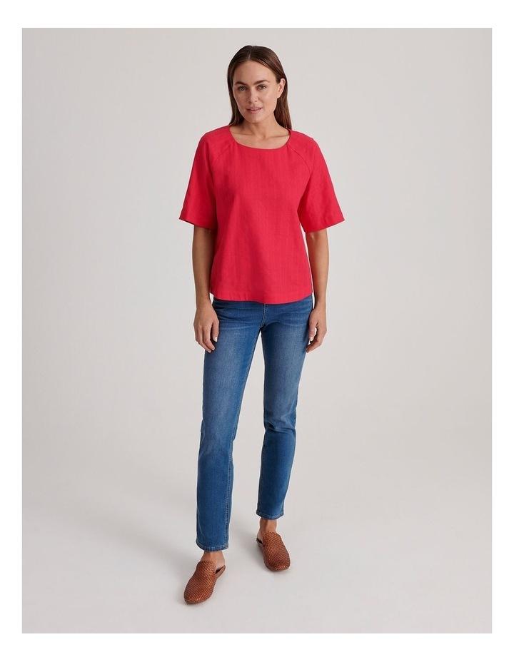 Short Raglan Sleeve Textured Cotton And Linen Top image 2