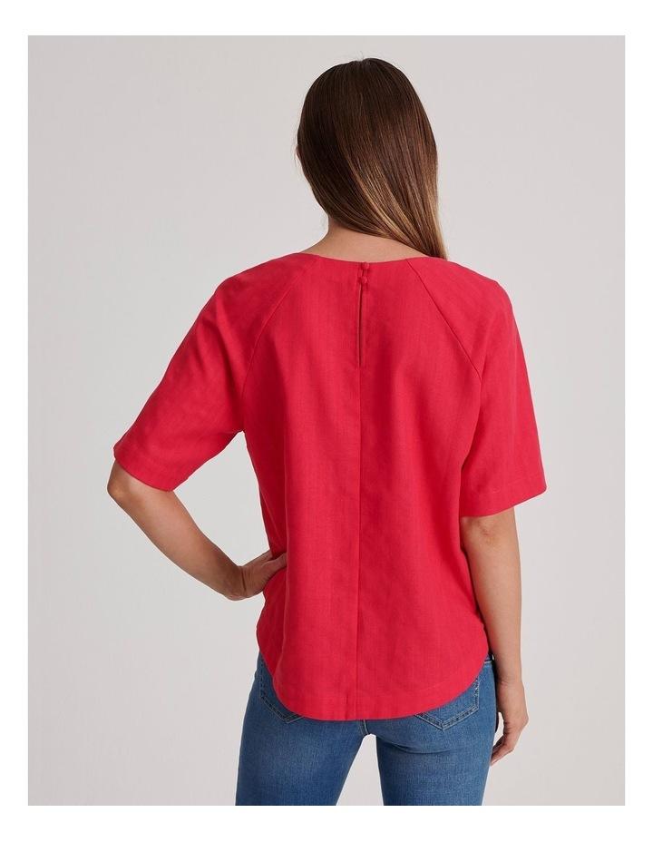 Short Raglan Sleeve Textured Cotton And Linen Top image 4