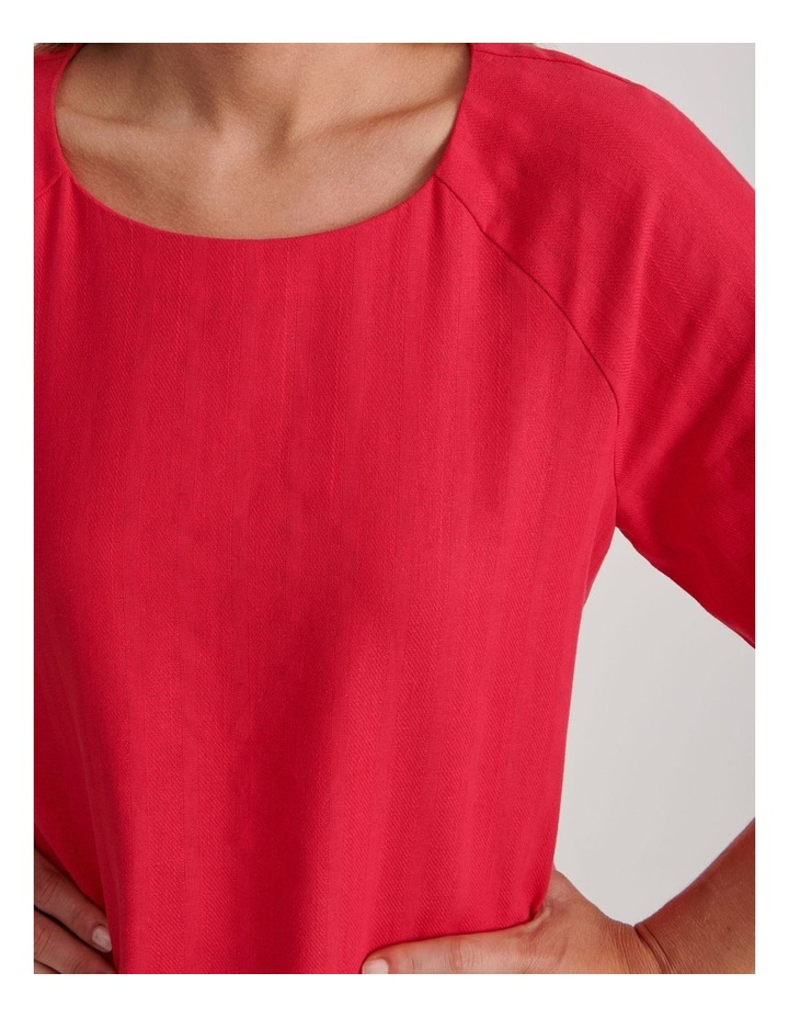 Short Raglan Sleeve Textured Cotton And Linen Top image 5