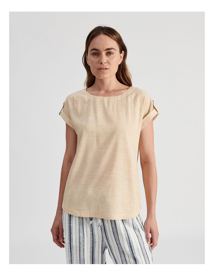 Extended Short Sleeve Top With Cuff & Button Tab image 1