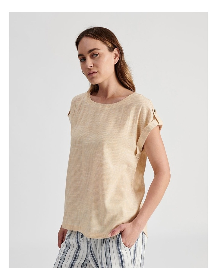 Extended Short Sleeve Top With Cuff & Button Tab image 2