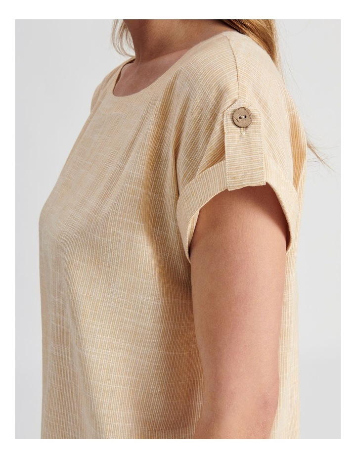 Extended Short Sleeve Top With Cuff & Button Tab image 5