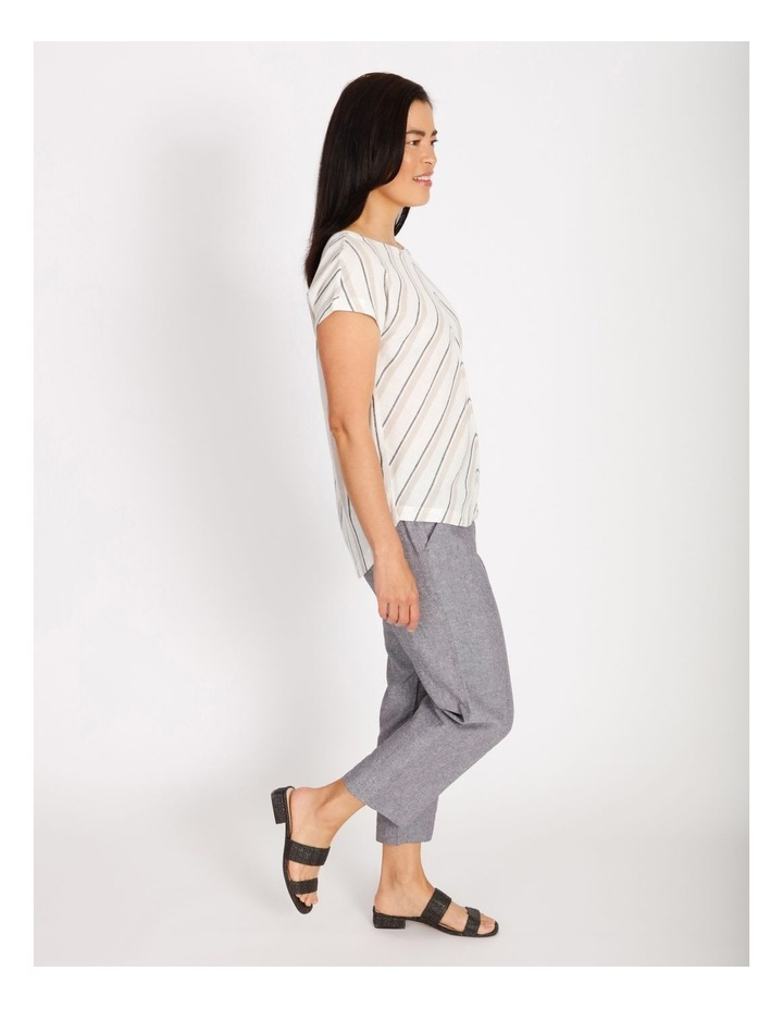 Etched Extended Short Sleeve Top With Diagonal Stripe Front image 2
