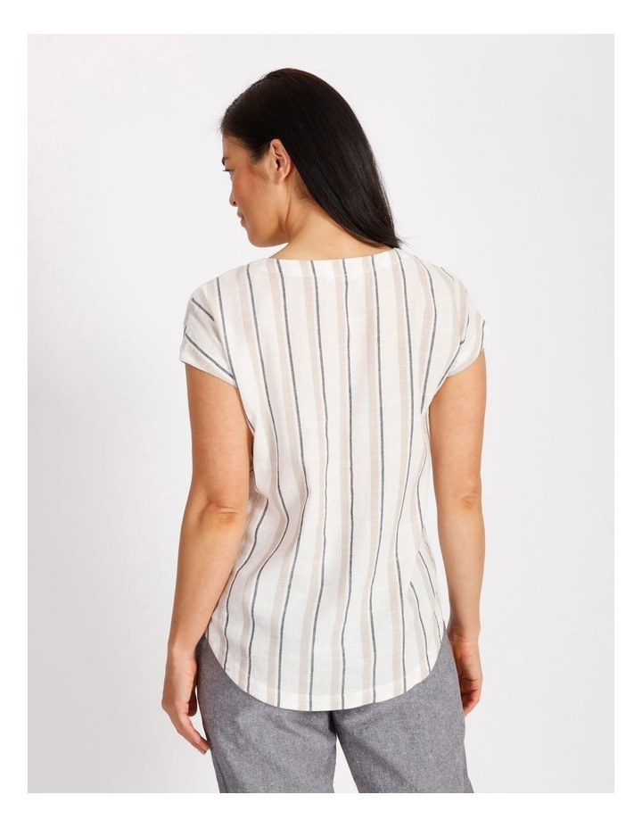 Etched Extended Short Sleeve Top With Diagonal Stripe Front image 3
