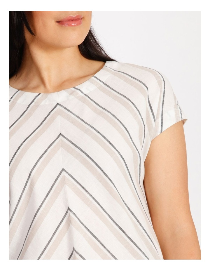 Etched Extended Short Sleeve Top With Diagonal Stripe Front image 4