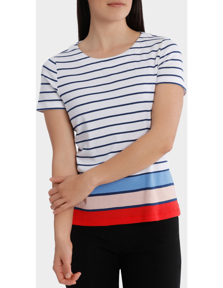 Multi Colour Stripe Short Sleeve Tee image 1