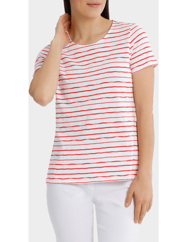 Textured Stripe Short Sleeve Tee image 1