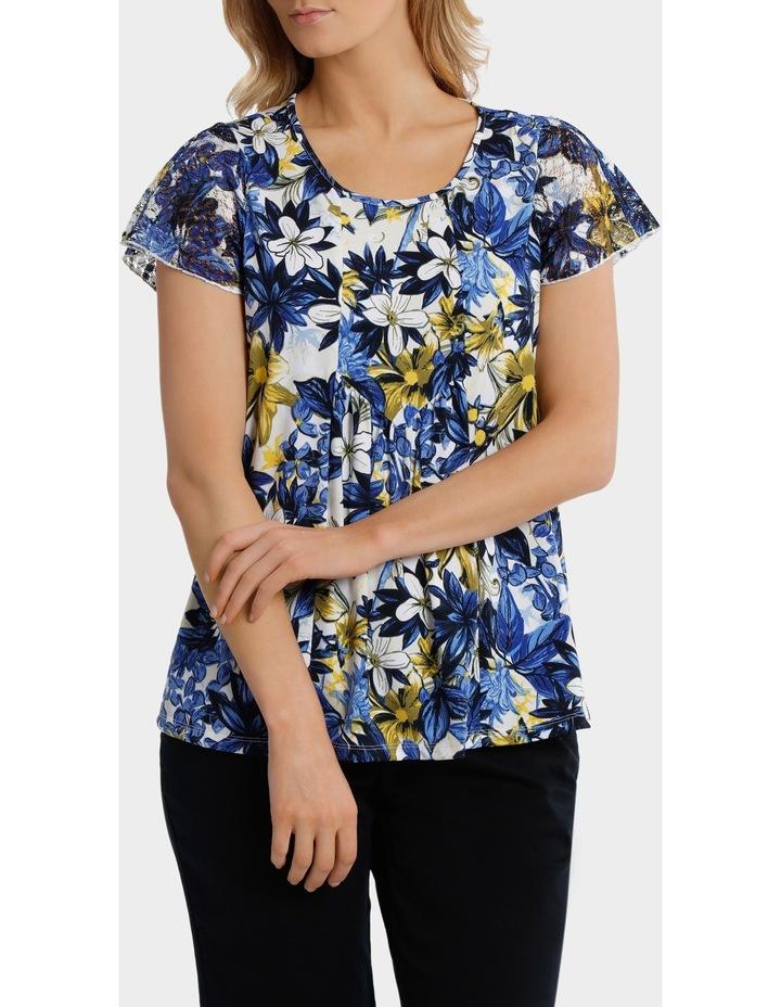 Capri Floral Asymmetrical Hem Short Sleeve Tee image 1