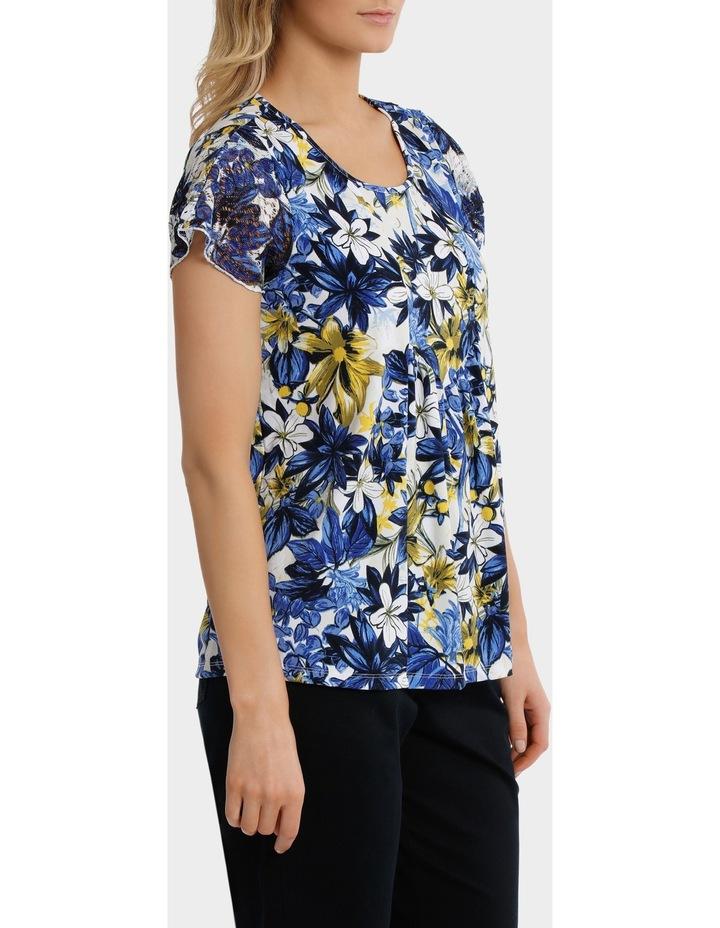 Capri Floral Asymmetrical Hem Short Sleeve Tee image 2