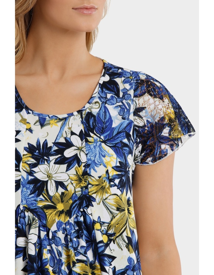 Capri Floral Asymmetrical Hem Short Sleeve Tee image 4