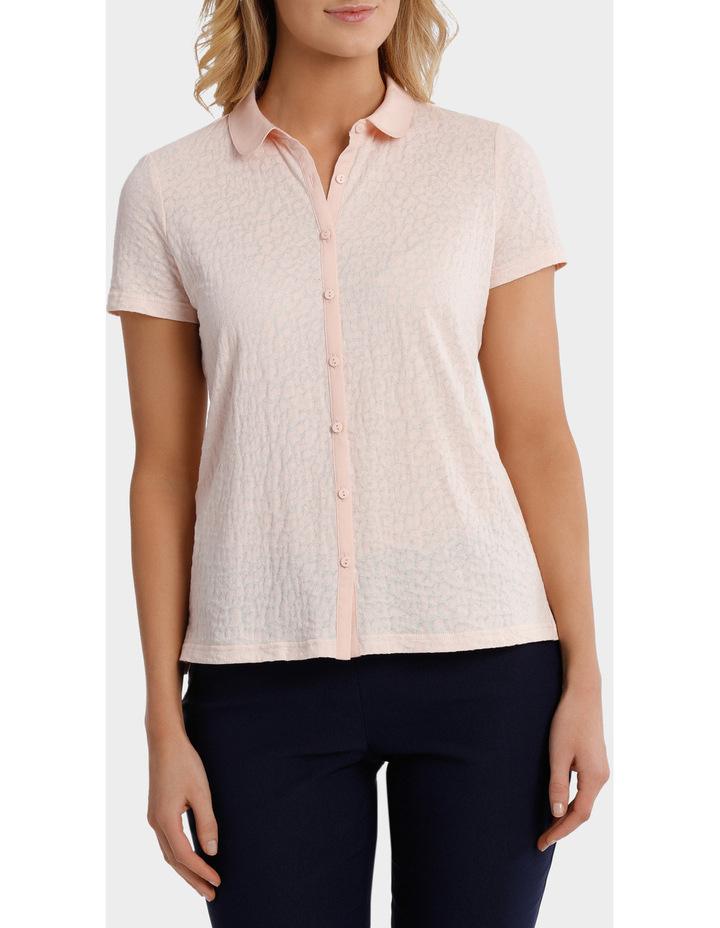 Textured Collar Short Sleeve Tee image 1
