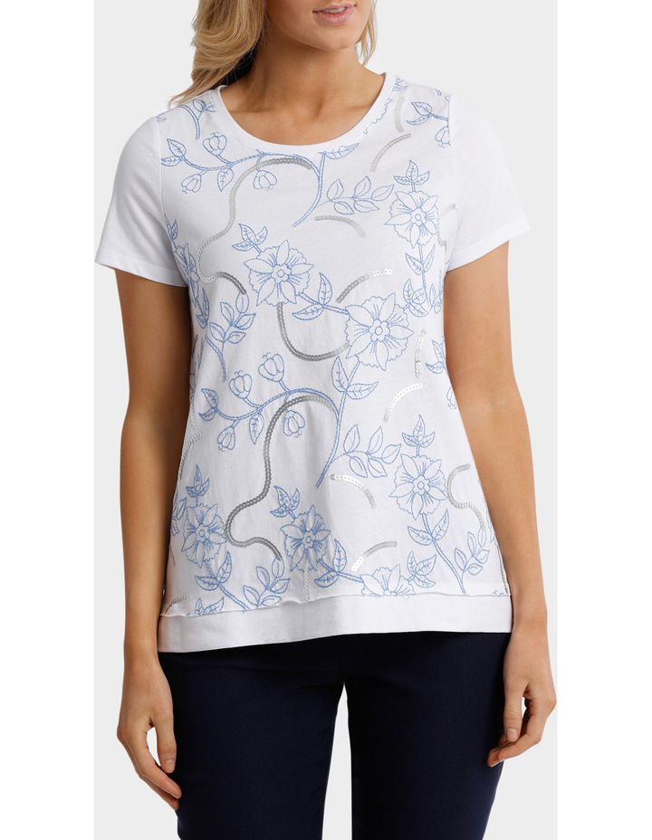 Sequin Embroidered Short Sleeve Tee image 1