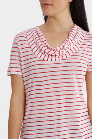 Regatta - Stripe Cowl Neck Linen Short Sleeve Tee