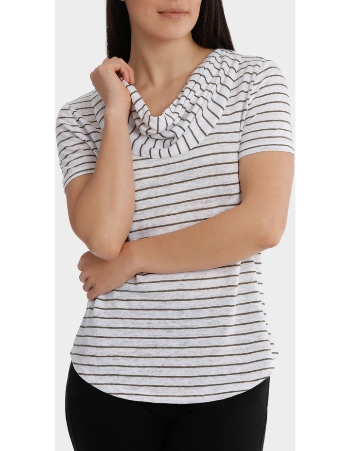 Stripe Cowl Neck Linen Short Sleeve Tee image 1