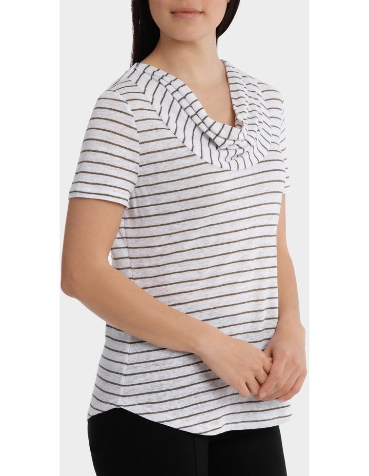 Stripe Cowl Neck Linen Short Sleeve Tee image 2
