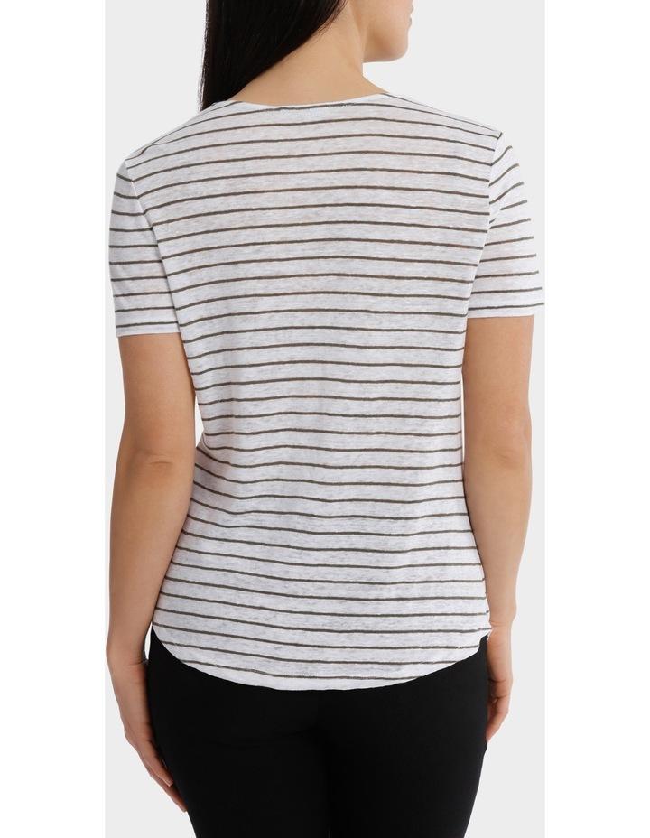 Stripe Cowl Neck Linen Short Sleeve Tee image 3