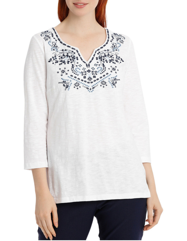Embroidered Cotton 3/4 Sleeve Tunic image 1