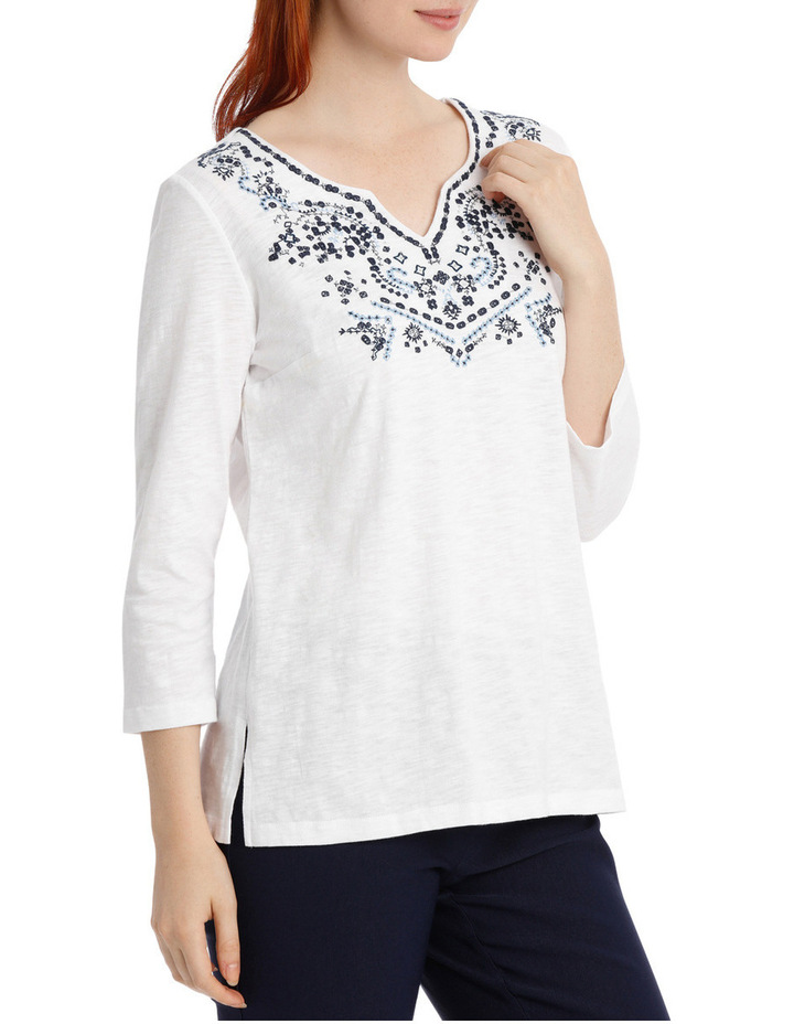 Embroidered Cotton 3/4 Sleeve Tunic image 2