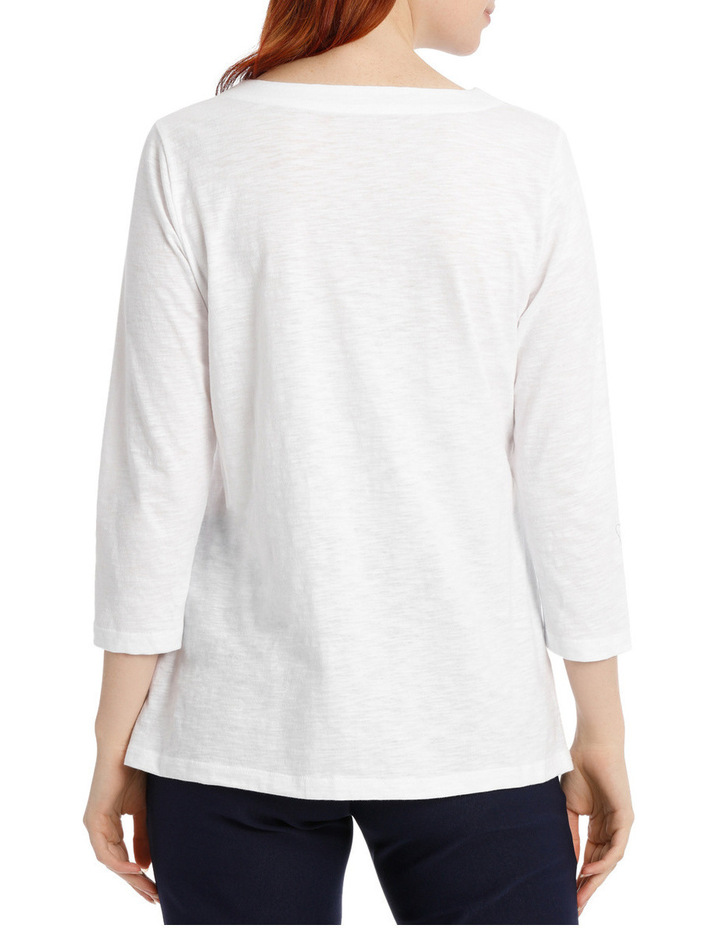Embroidered Cotton 3/4 Sleeve Tunic image 3