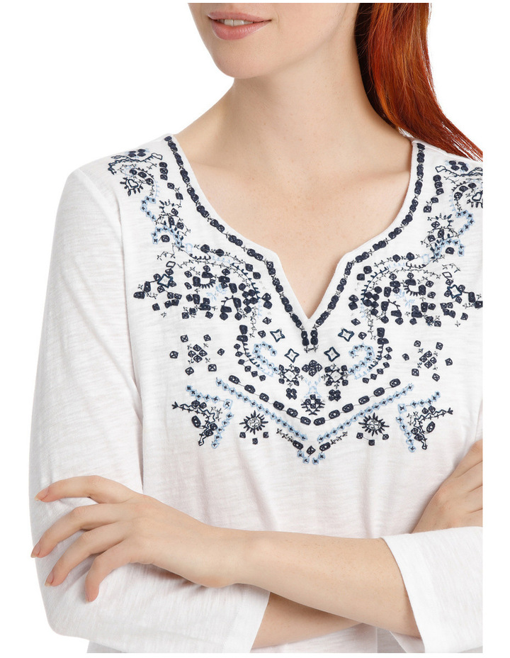 Embroidered Cotton 3/4 Sleeve Tunic image 4