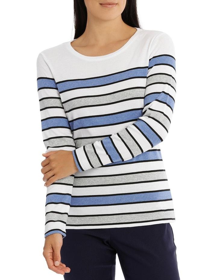 Multi Stripe 3/4 Sleeve Tee image 1
