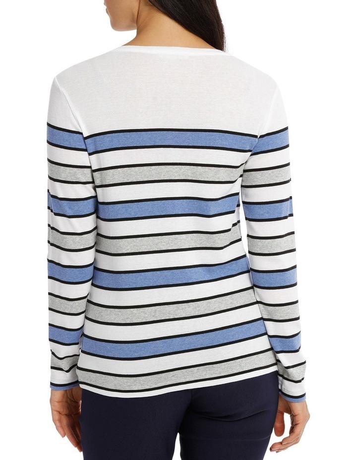 Multi Stripe 3/4 Sleeve Tee image 3