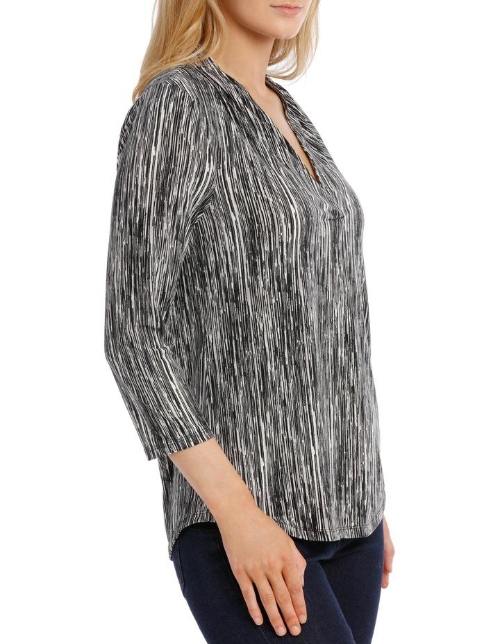 V Neck 3/4 Sleeve Printed Top-Black Broken Stripe image 2