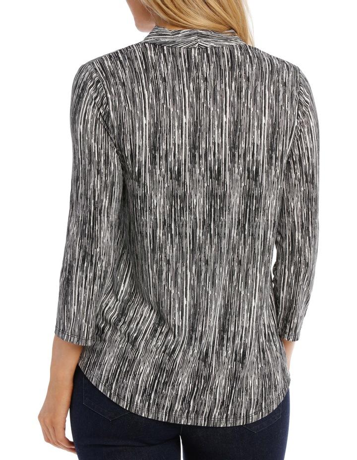 V Neck 3/4 Sleeve Printed Top-Black Broken Stripe image 3