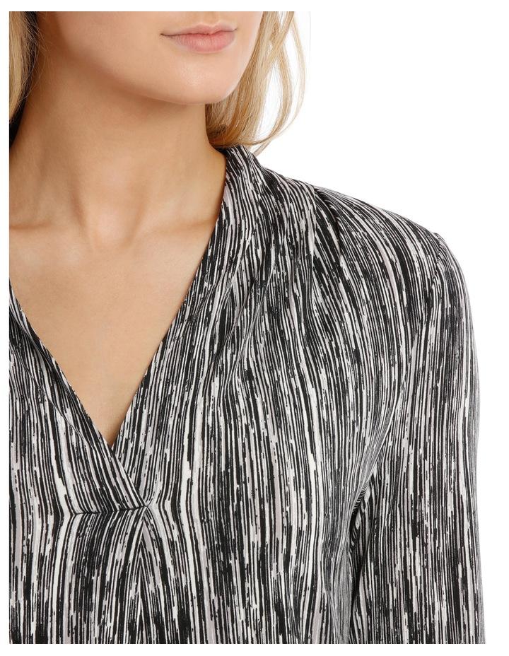 V Neck 3/4 Sleeve Printed Top-Black Broken Stripe image 4
