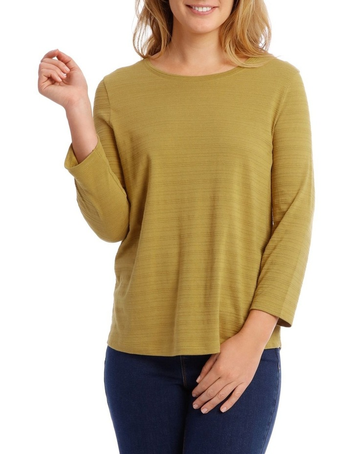 Textured Knit 3/4 Sleeve Tee With Pocket image 1