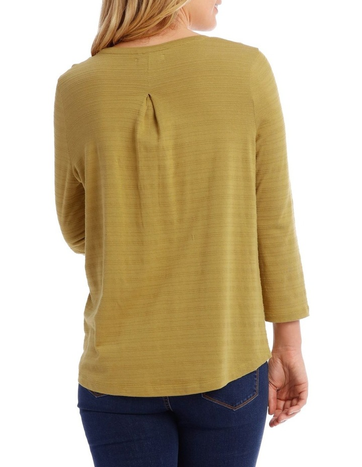Textured Knit 3/4 Sleeve Tee With Pocket image 3