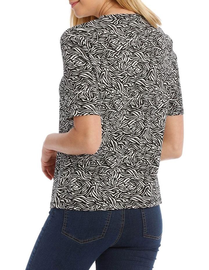 Zebra Print Keyhole Front Short Sleeve Tee image 3