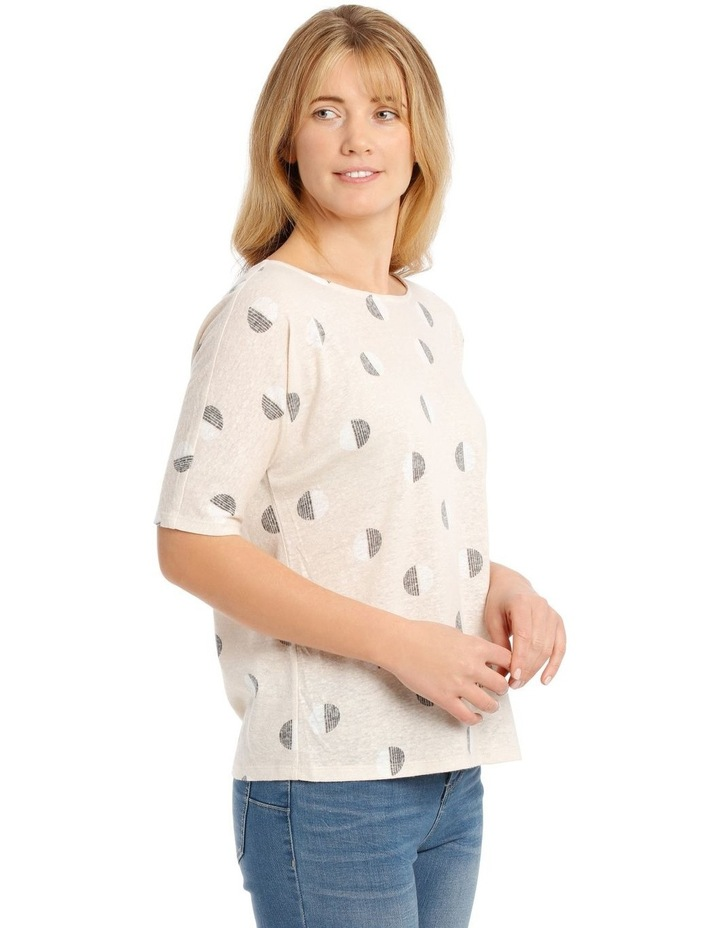 Short Sleeve Extended Shoulder Linen Blend Tee image 2