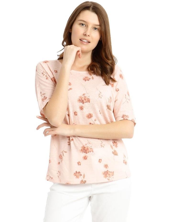 Short Sleeve Extended Shoulder Linen Blend Tee image 1
