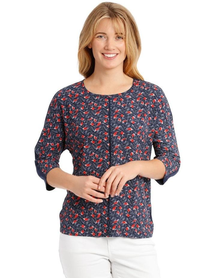 3/4 Magyar Sleeve Patterned T-Shirt - Blue Tile Print image 1