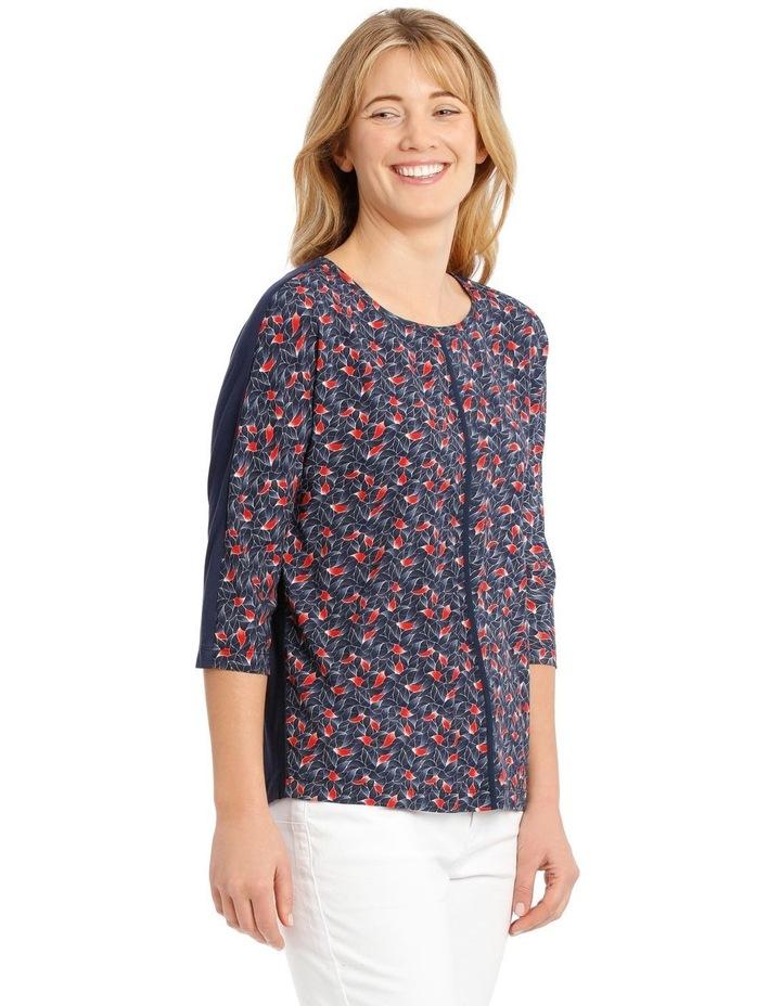3/4 Magyar Sleeve Patterned T-Shirt - Blue Tile Print image 2