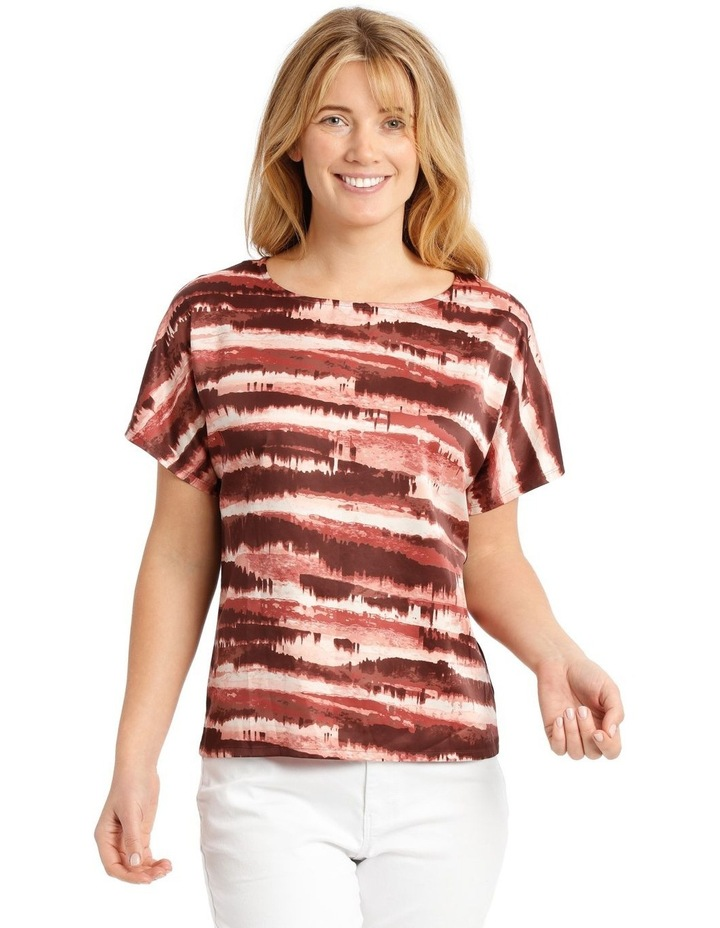 Woven Front/Knit Back Dropped Shoulder Short Sleeve Tee image 1