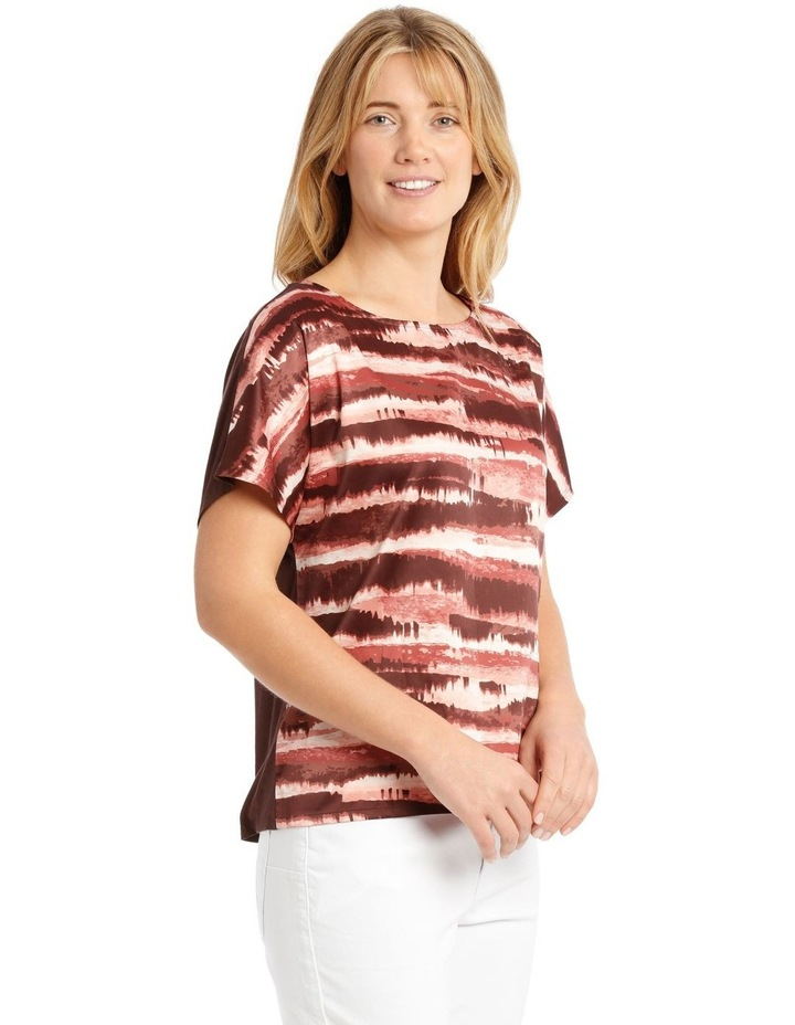 Woven Front/Knit Back Dropped Shoulder Short Sleeve Tee image 2