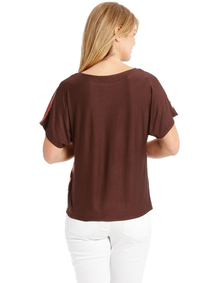 Woven Front/Knit Back Dropped Shoulder Short Sleeve Tee image 3
