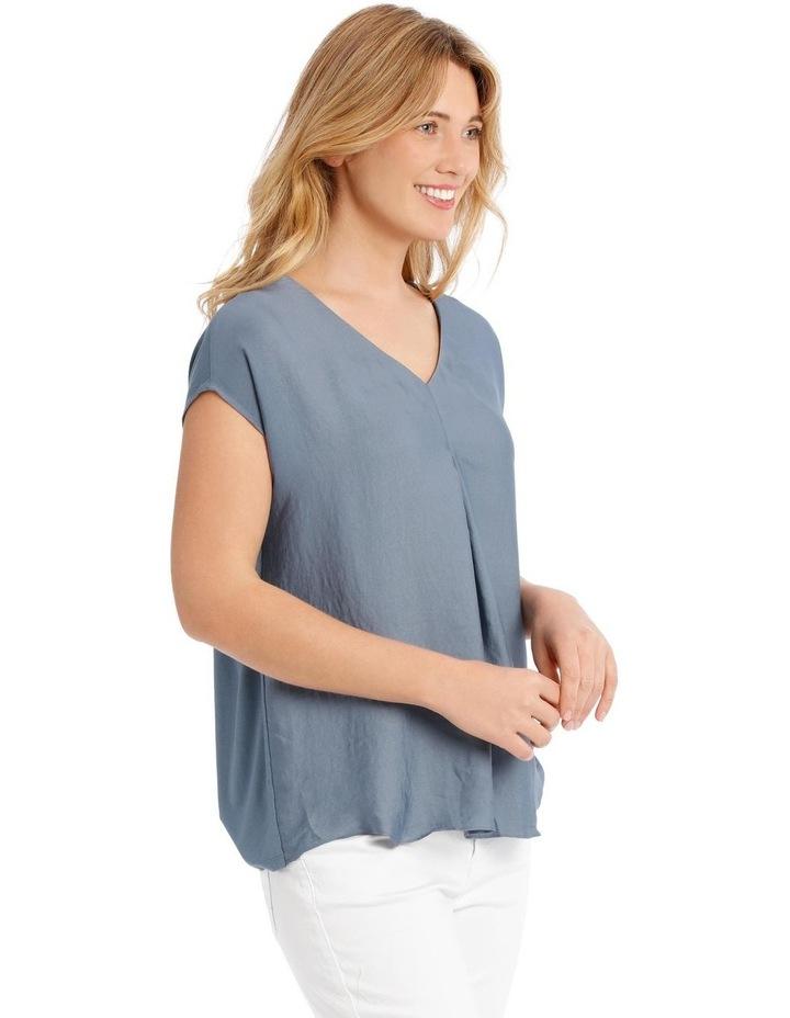 Short Sleeve Bruised Poly Front/Knit Back Tee-China Blue image 2