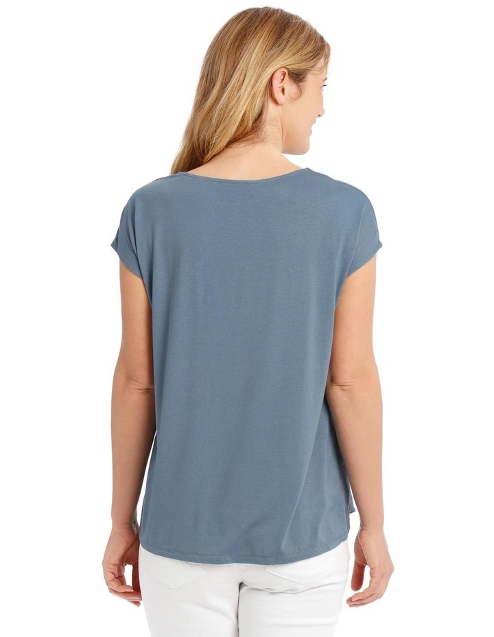 Short Sleeve Bruised Poly Front/Knit Back Tee-China Blue image 3