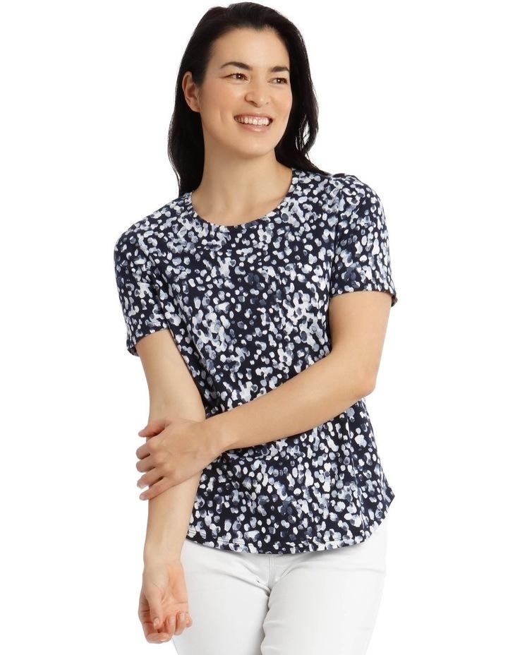 Short Sleeve Printed T-Shirt - Blue Brushstroke image 1