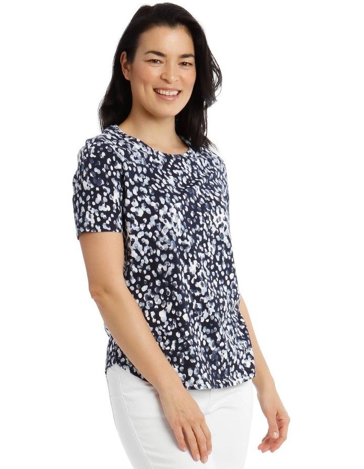 Short Sleeve Printed T-Shirt - Blue Brushstroke image 2