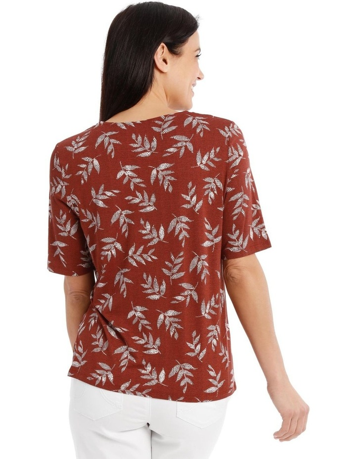 Short Sleeve V Neck Tee With Ladder Lace Insert image 3