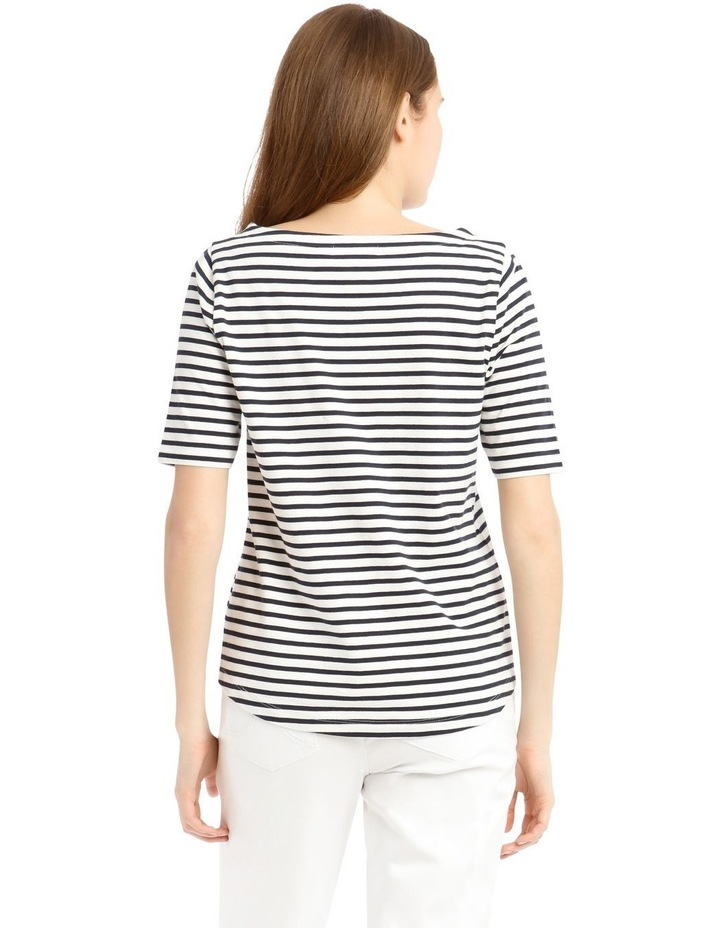 Boat Neck Stripe Short Sleeve Tee image 3