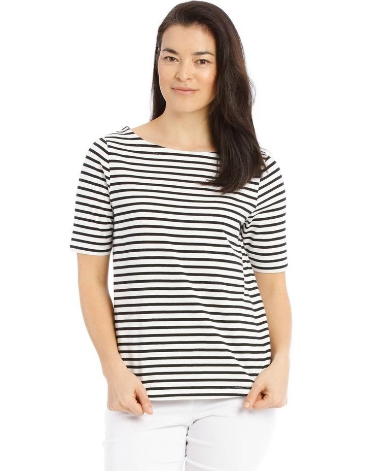 Boat Neck Stripe Short Sleeve Tee image 1