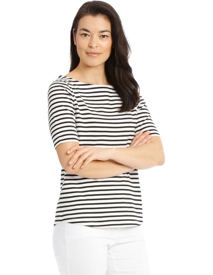 Boat Neck Stripe Short Sleeve Tee image 2
