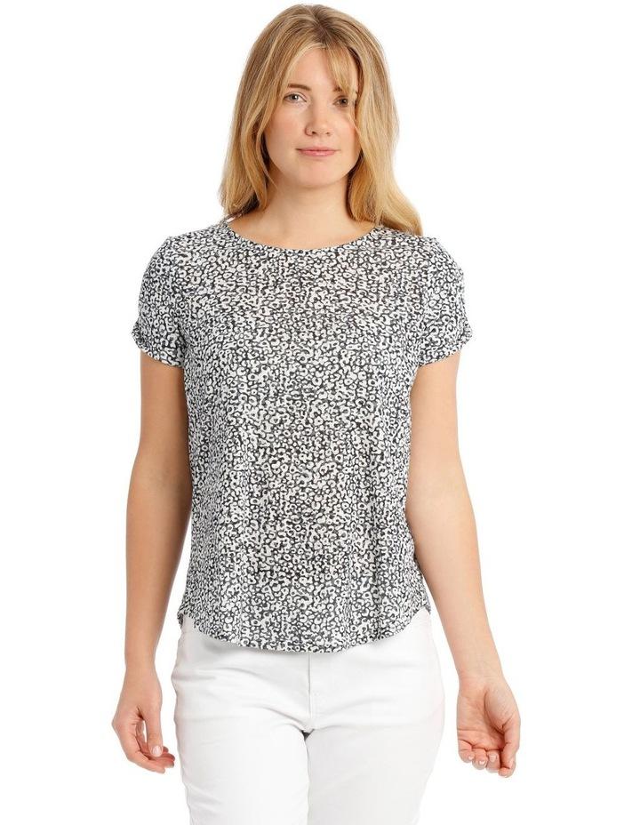 Short Sleeve Burnout T-Shirt with Scooped Hem image 1